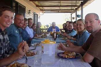 Training Farm: Lunch on the verandah
